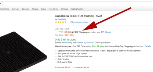 "Look for the ""FREE shipping on orders over $35"" words near the top of Amazon listings."